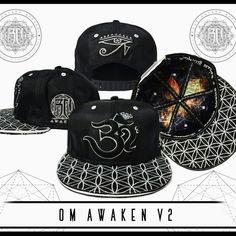 3b08db9906f Silver Black Om AWAKEN V2 Snapback    Secret Pocket    Summer Music  Festival Hat    Sacred Geometry