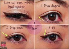 Easy Cat-Eyes Using Liquid Eyeliner