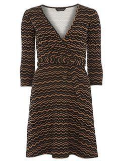 Black and tan chevron wrap dress