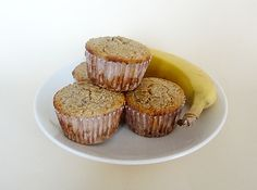 Banana nut oat bran muffins. Not many ingredients and definitely healthy. Add flax seed and cinnamon!