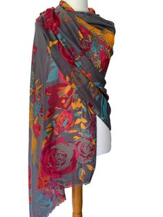 Beautiful large scarf by Powder with the Floral Squirrel print Excellent quality long wide and very soft lightly feathered fringing to the ends Very Cat Scarf, Grey Scarf, Scarf Hanger, Prom Accessories, Pashmina Wrap, Cerise Pink, Number 7, Large Scarf, Hair Dos
