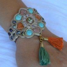 Brown Leather Tapestry Bracelet