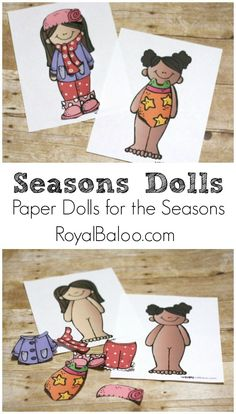 Free Paper Doll Pattern to practice dressing for the seasons!  Girls and boys…