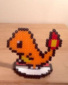 Pokemon Perler Bead Sprite - Standing Charmander on Pokeball - Pixel Fan Art