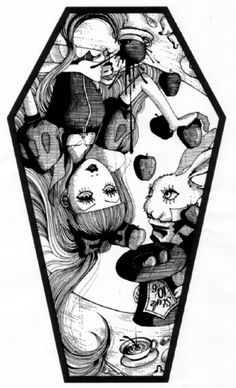 Alice in Wonderland - I think the flowers should outline this and instead of apples have little 'eat me' cakes and bottles of 'drink me'.