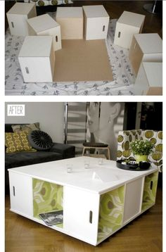 Make your own coffee table, quite simple. paint and wallpaper Home Upgrades, Trx, Home Budget, Wooden Crafts, Home Hacks, Home Decor Inspiration, Home Projects, Home And Living, Decoration