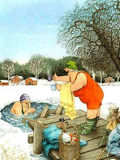 New single postcard by Inge Look old ladies winter swimming Old Lady Humor, Old Folks, Image Originale, Look Older, Norman Rockwell, American Crafts, Whimsical Art, Old Women, Illustrators