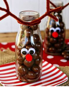 ⁠ Kid's Christmas crafts for gifts or party favours don't need to be expensive or hard to make. Glass mini milk bottles from any dollar… Christmas Crafts To Make And Sell, Best Christmas Recipes, Easy Diy Christmas Gifts, Christmas Gifts For Kids, Kids Gifts, Craft Gifts, Christmas Decorations, Christmas Neighbor, Christmas Ideas