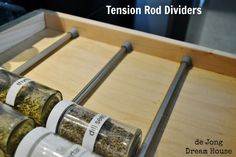 I love tension rods for organization. And, if the popularity of our tension rod spice drawer post is any indication, our readers do, t. Do It Yourself Organization, Spice Organization, Organizing Your Home, Organizing Tips, Organising, Household Organization, Diy Drawer Organizer, Drawer Organisers, Drawer Dividers
