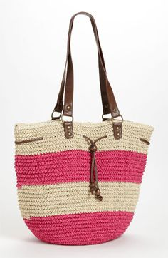 Straw Studios Drawstring Tote. natural and raspberry pink stripe with leather handles