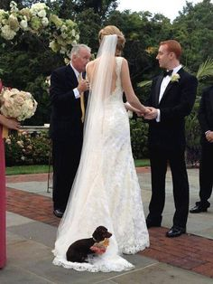 So adorable!  Mark and I didn't have a real dachshund in our wedding {we knew we wanted one, but weren't ready to adopt yet} but we did use a stuffed animal {a small, stuffed red smooth doxie!} as our ring pillow!