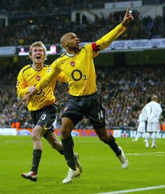 Thierry Henry celebrates scoring the first goal for Arsenal during the UEFA Champions League Round of 16, First Leg match between Real Madrid and Arsenal at the Santiago Bernabeu Stadium on February 21, 2006 in Madrid, Spain. (Feb. 20, 2006 - Source: Getty Images Europe)