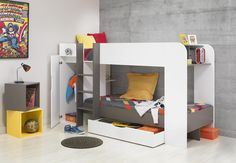 The unique and stylish Gami Jeko bunk bed is a necessity for any child's bedroom with a stunning white and grey finish. What makes this bed so unique is that it features a small wardrobe and an optional under bed drawer; an ideal solution for storage of toys and clothes. This bed is ideal for children who share a bedroom or equally ideal for a child who loves sleepovers! Will I fit in your room?   Height: 145.6cm  Width: 252.3cm  Depth: 109.8cm