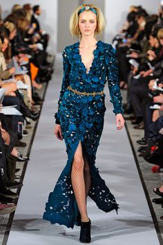 (I've been looking for a bedspread in this teal/indigo color).  Oscar de la Renta Fall 2012 RTW - Review - Collections - Vogue