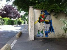 Street Art Utopia » We declare the world as our canvas » Batman and Robin kissing. By memeIRL in France 1