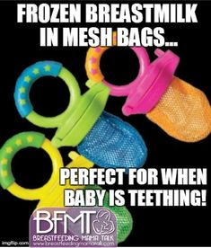 Frozen Breastmilk in mesh bags for teething babies!