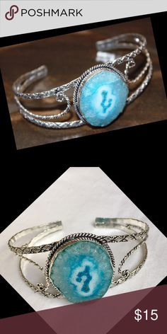 """Solar Quartz Cuff Bracelet ▪Prices are FIRM & include selling fees▪ 🔹Save by Bundling or Visiting my Website🔹 📌Read my Listing with """"Buying Policies"""" BEFORE purchasing items📌  New, Unworn  Beautiful Blue Solar Quartz Bangle/Cuff Bracelet  Metal is Unknown - No markings to indicate silver  Fashion Jewelry  New Solar Quartz Cuff Bracelet Jewelry Bracelets"""