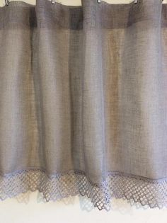 Burlap curtains Gray curtains panels Linen curtains panels Cafe curtains Kitchen curtains Curtain valances Rustic Curtains Linen drapes Linen kitchen curtains with lace ideal for giving romantic atmosphere. Windows curtains panel are ideal as bathroom curtains. Linen flax absorb moisture more than 20% and quickly dries. Linen fabric has natural antiseptic and antibacterial properties. Eco friendly and natural choice for any windows. This listing is for one curtain panel. The panel inclu...
