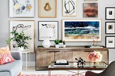 Watch how we easily created this modern gallery wall—We're taking you behind the scenes of our October 2017 cover shoot to show you how we put together this stunning statement wall featuring The Frame, a new TV by Samsung. Modern Gallery Wall, Gallery Wall Frames, Frames On Wall, Gallery Walls, Cheap Living Room Sets, Living Room Tv, Tv Wall Decor, Room Decor, Wall Art