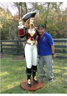 Girl Sexy Pirate Statue Sculpture With Eye Patch and Gun Life Size Woman Nautical