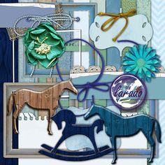 Blue Wooden Horse Digital Scrapbook Kit, Wooden Horse Clip Art, Rocking Horse…