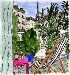 Fifi Flowers Painting du Jour Gallery: Pink Table Balcony in Paris