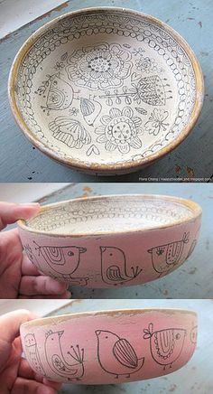 wooden doodle bowls. note to self: figure out how to do this with clay ;)
