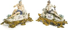 A pair Meissen figures of River Gods, circa 1750, with gilt-bronze mounts, Louis XV
