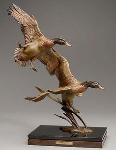 Teal Duck, Bird Sculpture, Mallard, Wood Carvings, Taxidermy, Ducks, Habitats, Bronze, Construction