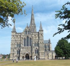 Salisbury Cathedral, has copy of Magna Carta, tallest church spire in UK, oldest working medieval clock in the worls