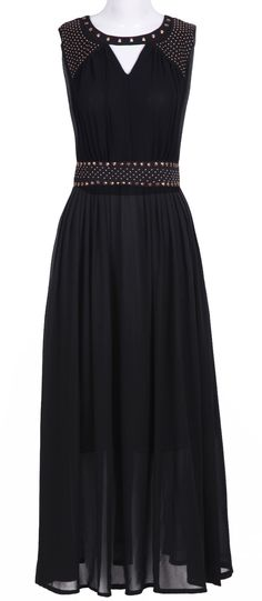 Embellished Long Black Dress.