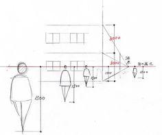 手描きパースの描き方ブログ、パース講座(手書きパース):人物と建物のバランス