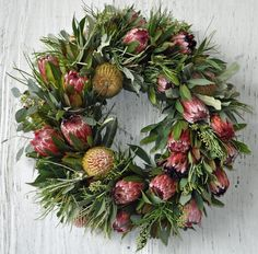 A wreath made from beautiful native Australian flowers. Aussie Christmas, Summer Christmas, Christmas Flowers, Christmas Night, Christmas 2019, Christmas Balls, Christmas Diy, White Christmas, Australian Christmas Tree