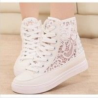 I think you'll like White lace breathable shoes webnet high tops casual platform women sneakers shoes 2014. Add it to your wishlist!  http://www.wish.com/c/5409722a1d2d43417bfcfb6b