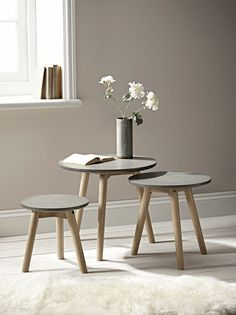 Three Grey Topped Tables