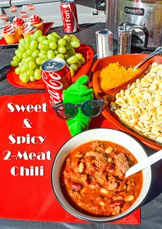 Try this sweet and spicy chili made with two meats perfect for a football tailgate. There is also a free football straw printable posted below the recipe.