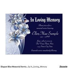 Elegant Blue Memorial Service Announcements Funeral Invitationinvitationsinvitation Cardsmemorial