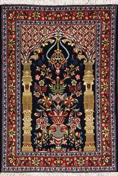"Qum Persian Rug, Buy Handmade Qum Persian Rug 3' 4"" x 4' 10"", Authentic Persian Rug"