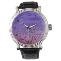 Twilight Crescent Moon & Peculiar Tree Wrist Watch - diy cyo customize create your own personalize