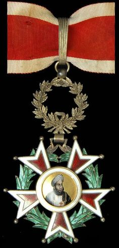 Zanzibar Order of Brilliant Star Hamad Ibn Thwain issue (1893-96) Type 2 with portrait of the Sultan on the obverse center, Commander's neck badge in silver gilt and enamels, 60 mm,