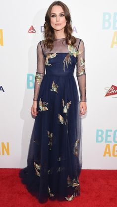 "Trendsetter of the Week: Keira Knightley Photo by Gary Gershoff/WireImage Keira Knightley chose a sheer navy embroidered Valentino gown for the New York premiere of ""Begin Again. Estilo Keira Knightley, Keira Knightley Style, Valentino Gowns, Valentino Couture, Fashion Days, Star Fashion, Fashion Trends, Red Carpet Looks, Black Carpet"