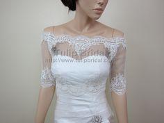 Off-Shoulder dot Lace Bridal Bolero Wedding jacket shrug