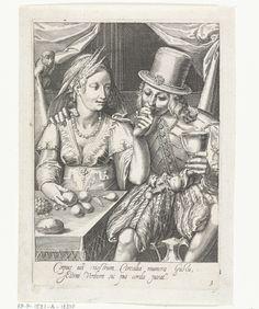 Cornelis Boel   Smaak, Cornelis Boel, Anonymous, 1663 - 1693   Een jonge vrouw laat een jonge man proeven van de vruchten die ze voor zich op tafel neer heeft gelegd. Beiden zijn goed gekleed en de man houdt een roemer in zijn hand Op de achtergrond zit een aapje in de gordijnen. Prent uit een serie van vijf prenten met voorstellingen van de zintuigen.