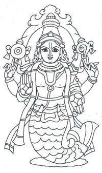 Matsya Avatar.  Children's version of 10 avatars of Vishnu