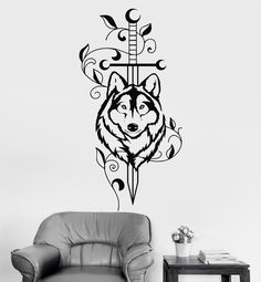 Vinyl Wall Decal Sword Wolf Animal Predator Tribal Decor Stickers (ig3527)