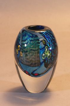 Dichroic Vessel with Heavy Clear Base | James Wilbat Glass Studio