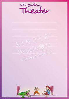"""Kindergarten Portfolio Vorlage """"Wir spielen Theater"""""""
