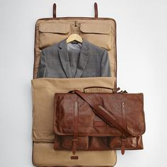 leather excursion garment bag, by red envelope