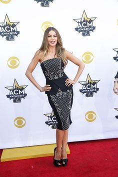 Pin for Later: The Best Dressed Stars at the ACM Awards Weren't Even Country Singers Sofia Vergara It was fitted, embroidered, and peplum for Sofia, who strutted her stuff on the red carpet with her Hot Pursuit costar Reese Witherspoon.