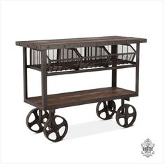 Iron and Reclaimed Timber Trolley with 2 Metal Baskets - available to buy online or at Choice Furniture Superstore UK on stockist sale price. Get volume - discount with fast and Free Delivery. Industrial Style Furniture, Country Furniture, Find Furniture, Online Furniture, Furniture Ideas, Classic Furniture, Kitchen Furniture, Luxury Furniture, Furniture Makeover